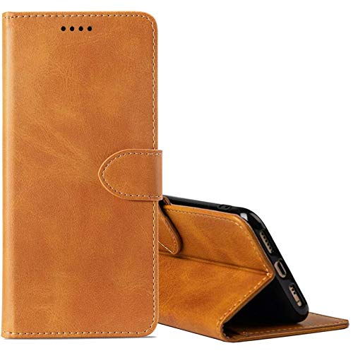 cookaR TP-Link Neffos X20 Handy Hülle Tasche Flip Hülle Kredit Karten Fach Geldklammer Leder Handy Schutzhülle Unsichtbar Magnet Verschluss Standfunktion,Braun