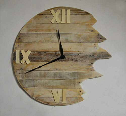 Grand reloj de pared redondo de madera recuperada, reloj de pared moderno hecho con plataforma rústica, reloj de pared por tienda de ropa