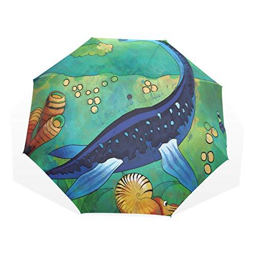 LASINSU Paraguas Resistente a la Intemperie,protección UV,Paraguas Ligero,Antigua Criatura del mar Salvaje Plesiosaurus en su hábitat Submarino,Plegable