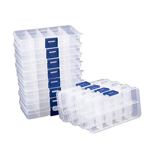 Boîte de rangement en plastique, boîte à bijoux avec cloisons ajustables, lot de 12, 12,7 x 6 x 2 cm