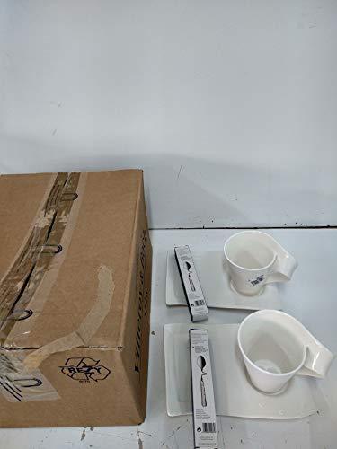 Villeroy & Boch NewWave Set para Capuchino de 6 pz.   Taza de café, Platillo, Cuchara, para 2 Personas, Apto para lavavajillas, Acero Inoxidable, weiß