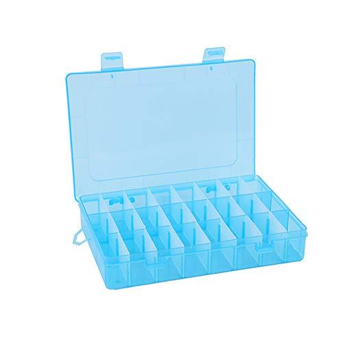 24 compartiments Boîte en plastique Coque Bijoux Perle Boîte de rangement Craft Organiseur Bleu