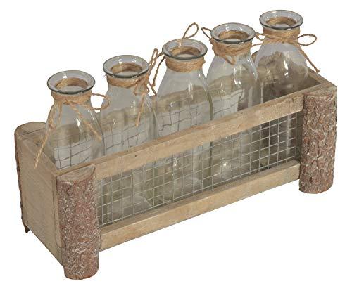 CHICCIE Holzrahmen Grau Mit Gitter & 5 Vasen 27x10x10cm - Glasvase Schwebende Vase Schwebender Blumentopf Blumenvase