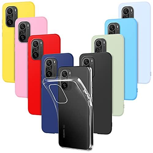 9X Funda para Xiaomi Poco F3 Carcasa Suave Silicona, E-Lush Caso Ultra Delgado Soft Gel TPU Goma Case Cover, Negro, Azul Oscuro, Rojo, Azul Cielo, Rosa, Amarillo, Púrpura, Verde, Transparente