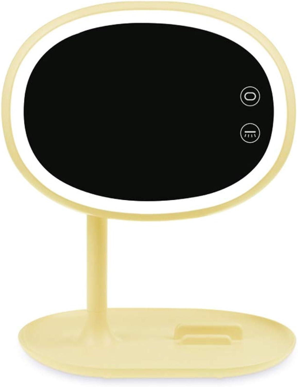 KIAYI Schminkspiegel, Desktop LED Wiederaufladbarer Tischlampe Tragbar Kosmetikspiegel Schlafzimmer Nachttischlampe,Gelb