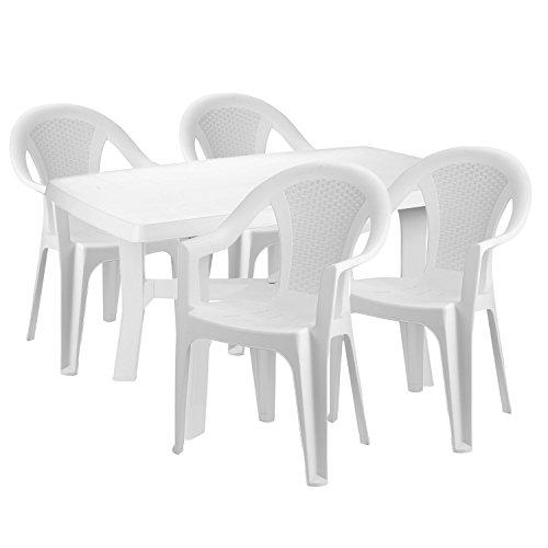 Mojawo® praktisch en mooi. - Tuinmeubelen 5-delig - eettafel kunststof 140x90cm + 4 stapelstoelen - kunststof - wit