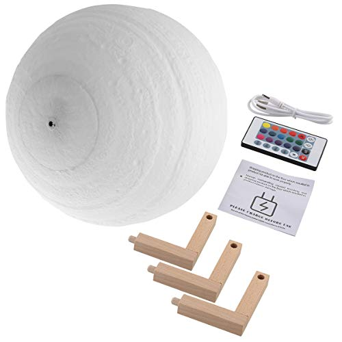15cm/5.9 16 Colors Dimmable Rechargeable LED 3D Print Light Lamp with Wood Stand & Remote Controller for Baby Room Party