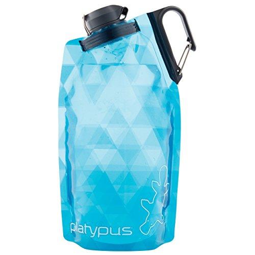 Platypus DuoLock SoftBottle Collapsible Water Bottle, Blue Prisms, 1.0-Liter