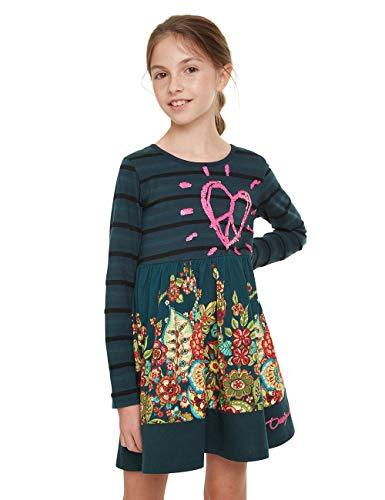 Desigual Mädchen Dress PHYSALIS Kleid, Grün (Verde Botella 4009), 140 (Herstellergröße: 9/10)