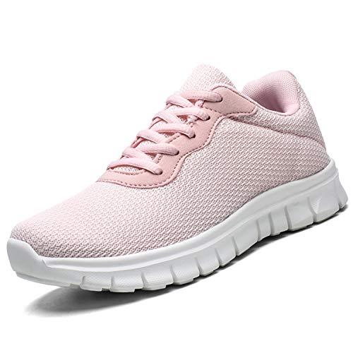 [YQKCEL] 軽量ランニングシューズ スニーカー通気性 ウォーキング アウトドア トレーニングシューズ ジョギングシューズメンズレディース スポーツシューズ運動靴 履きやすい カジュアルおしゃれ 通学 通勤 日常着用Pink0560/37