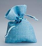 Set 30 pezzi, Bomboniera sacchetto stoffa iuta 10x13, portaconfetti (ck7022-30) (CELESTE)
