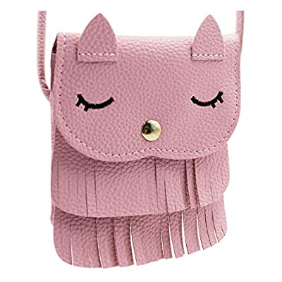 ZGMYC Cat Tassel Shoulder Bag Small Coin Purse Crossbody Satchel for Kids Girls, Pink (5.1'' x 5.9'')