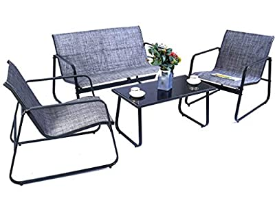 Kozyard Sofia 4 Pieces Patio/Outdoor Conversation Set with Strong Powder Coated Metal Frame, Breathable Textilence, Includes One Love Seat, Two Chairs and One Table (Gray)