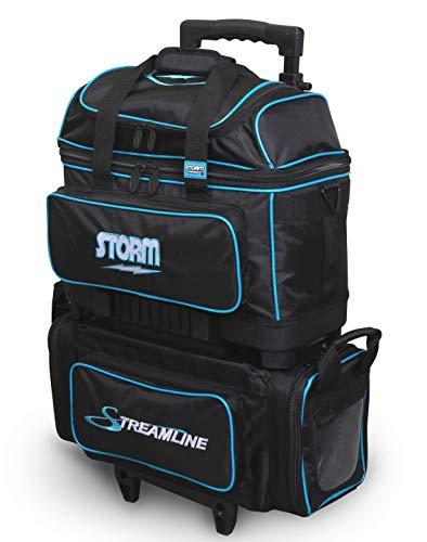 Storm Streamline Bowlingtasche mit 4 Ballrollern, Schwarz/Blau