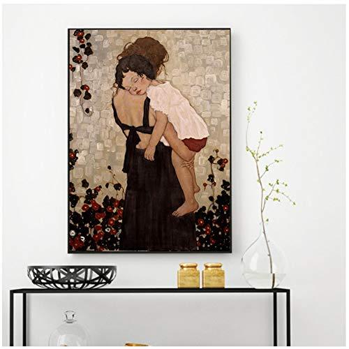 Modem Home Decor Xi Pan Moeder En Kind Canvas Schilderij Figuur Prints En Posters Op Canvas Muur Foto Voor Woonkamer-50x70 cm Geen Frame