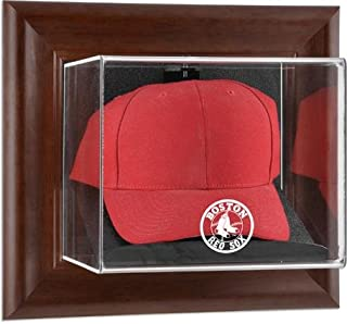 Boston Red Sox Brown Framed Wall-Mounted Logo Cap Case - Baseball Hat Logo Display Cases
