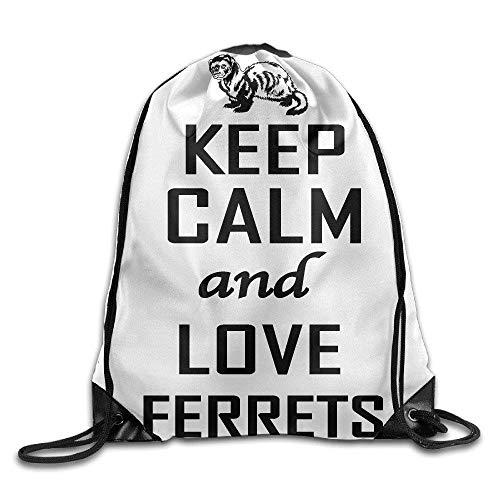 uykjuykj Bolsos De Gimnasio,Mochilas,CoolKeep Calm and Love Ferrets,Ferret Love 04 Beam Mouth Bags Drawstring Backpack Lightweight Unique 17x14 IN