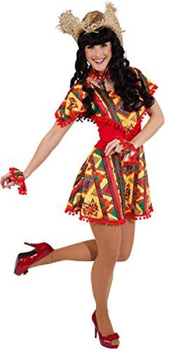 narrenkiste W9426-42-44 rot-bunt Damen Mexico Kleid Mexikaner Kostüm Gr.42-44