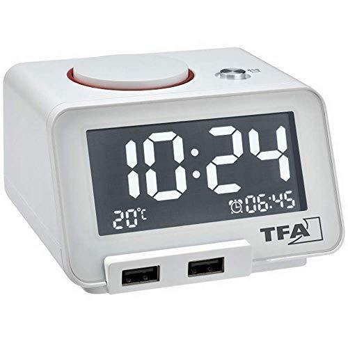 TFA Dostmann Homtime Réveil numérique avec Fonction de Charge USB, Plastique, Blanc, L 185 x l 138 x H 88 mm