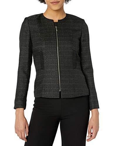 Tahari by ASL Women's Tweed Zip Jacket with Metallic Detail Black/Silver 6