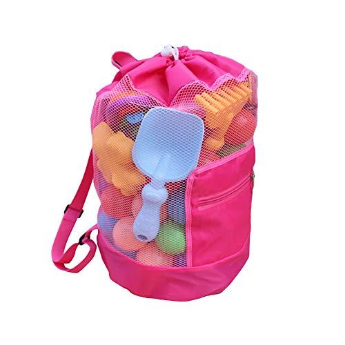 Scrox. 1xBolsa de Malla para Juguetes de Juguetes Mochila para niños Bolsa de Playa Juguetes de Playa Mochila Duradera con Cordón (Juguetes no incluidos) 48 * 24cm Nylon + Malla (Pink)