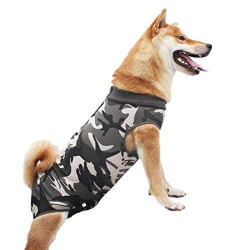 POHOVE Dog Surgery Recovery Suit Abdominal Wound Protection Anti Licking Pet Supplies Elastic Back Buckles Rehabilitation Comfortable Breathable Health Care Skin Diseases Modal Weaning(MCamouflage)