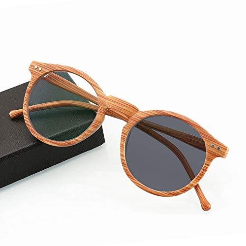 TCYLZ Retro Lezen Bril, Binnen En Outdoor Imitatie Graan Hout Zonnebrillen, Progressieve Hars Bril Voor Mannen En Vrouwen
