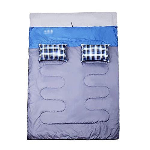 Sac de couchage Double sac de couchage - Torsade en polyester 190T, sac de couchage multi-fonction pour intérieur et extérieur quatre saisons à deux ou trois paires, convient à: la pause de midi à