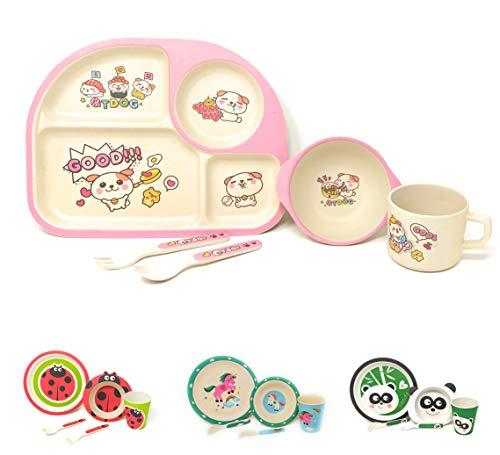 Vajilla infantil para niños entre 2 y 8 años apto para el Lavavajillas sin BPA 100% Eco-Friendly Set de 5 Piezas (Perrito)