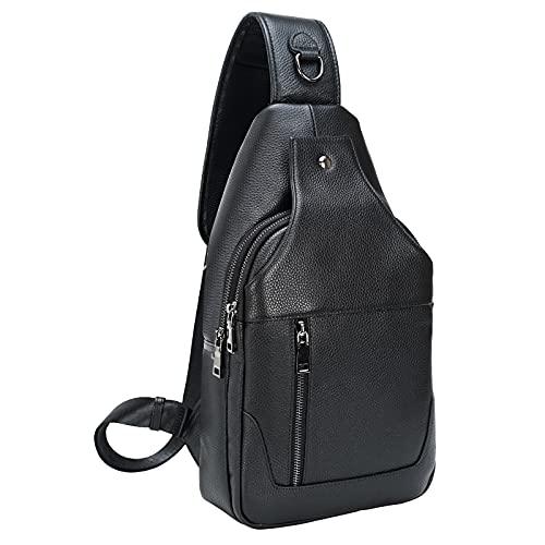 Texbo Genuine Full Grain Leather Crossbody Sling Bag Travel Hiking Sports Daypacks