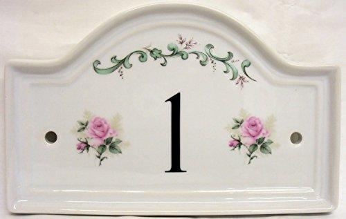 Hausnummernschild aus Keramik, Rosenmotiv, handverziert in Großbritannien, alle Zahlen erhältlich -