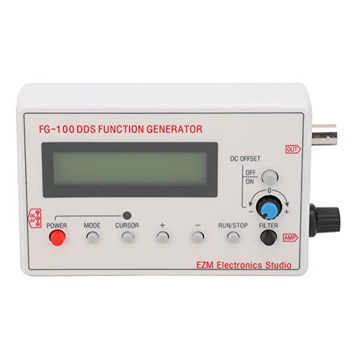 FG-100 Signal Generator, Portable DDS Function Frequency Tester with Connection Line, Sine Wave 1Hz-500kHz, Powered by Adapter or li-thium Battery, White