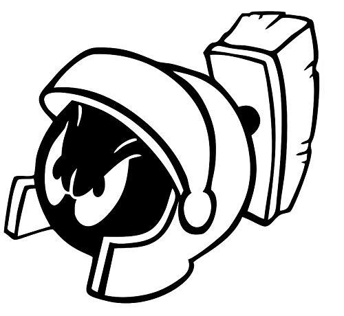 CCI Marvin The Martian Looney Tunes Funny calcomana de vinilo | Coches camiones furgonetas paredes porttil | Negro | 5.5 x 5.1 pulgadas | CCI2097