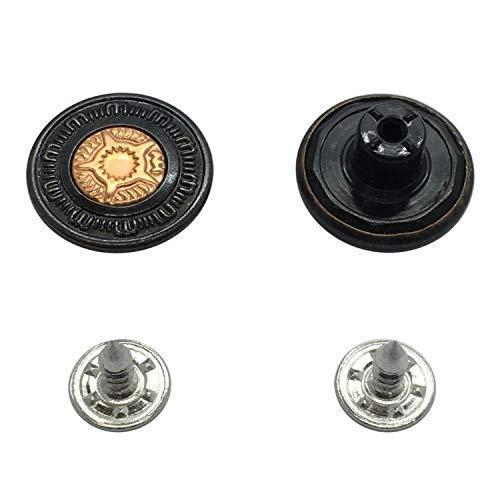 Trimming Shop Zwart 17mm Messing Jeans Knop Hamer op Tack Bevestigingsmiddelen met Aluminium Terug Pin Hand Geperste Studs voor Kleding Reparatie, Denims, Jassen