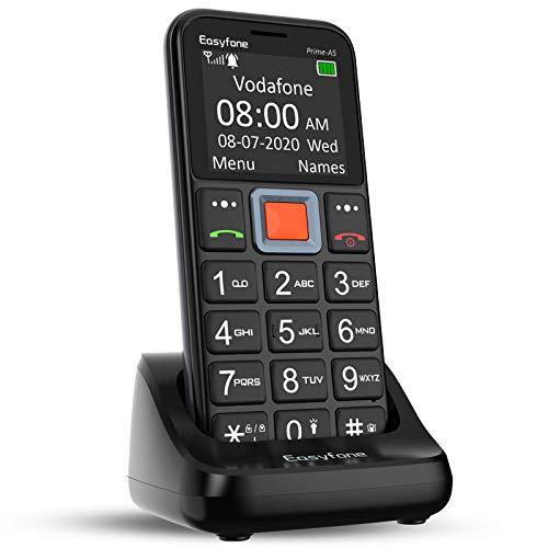 Easyfone Prime-A5 Téléphone Portable Senior Débloqué avec Grandes Touches | Bouton SOS | Radio FM | Lampe Torche et Station de Charge, Noir