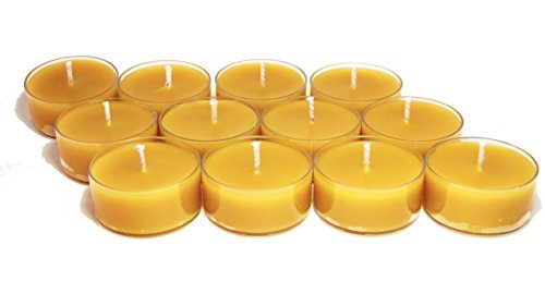 BCandle 100% Pure Raw Beeswax Tea Lights Candles (Set of 24) Organic Hand Made