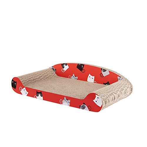 Aida Bz Cat Scratch Board ondulé affûteur de Papier avec Dossier Fleur OS canapé lit Pet Cat Fournitures,Red
