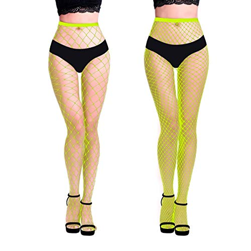 MengPa Fishnet Stockings High Waisted Tights Pantyhose for Women 2Pcs (Neon Yellow-(L&XL Gride))-Q