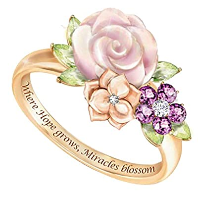erDouckan Charming Attractive Rings for Women & Inspirational Letter Flower Rhinestone Inlaid Ring Valentine Day, Delicate Gift for Friends Family (Golden US 8)