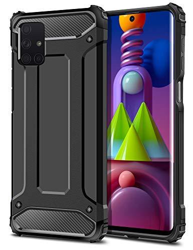 Coolden für Samsung Galaxy M51 Hülle, Premium [Armor Serie] Outdoor Stoßfest Handyhülle Samsung M51 Schutzhülle Hülle Doppelschichter Tough Silikon TPU + PC Bumper Cover (Schwarz)