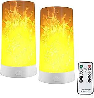 2個炎 ライト,セット 揺らぐ炎 LED電球,USB充電式 LED炎効果ライト,LED キャンドル ライトリモコン付き点滅灯 フレームランプ 火炎ランプー レストラン クリスマス パーティーバー