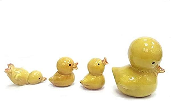 DMtse 4 X Yellow Duck Ornaments Combination Mini Ceramic Crafts Desktop Home Decoration