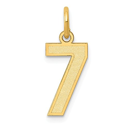 14k Yellow Gold Small Number 7 Pendant Charm Necklace Charms Laser Etched Fine Jewelry For Women Gifts For Her