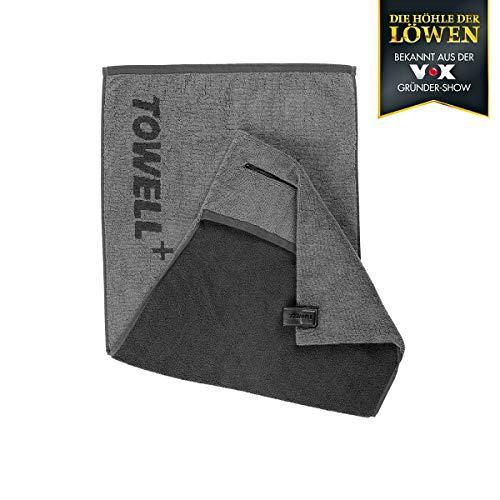 Towell Plus 00764 Sporthandtuch | Bekannt aus dem TV | Mit integrierter Tasche | Magnetclip zum Aufhängen an Sportgeräten | 100% Baumwolle | Anthrazit-Grau