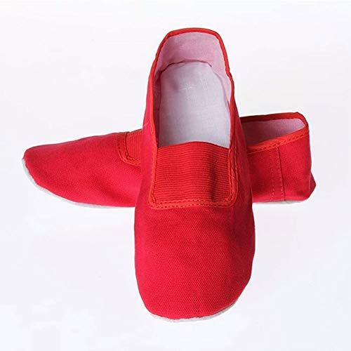 meng Kinder Erwachsene Ballettschuhe Ballettschläppchen Mit Geteilter Ledersohle (Color : Red, Size : 44)