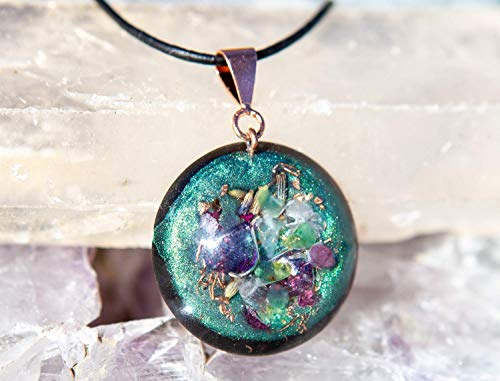 Orgonite Necklace for Heart Chakra - Healing Crystal Pendant – Violet Flame Orgone