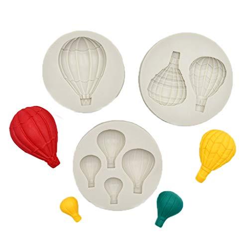 WOWOWO 3 Piezas Globo aerostático moldes de Silicona para Fondant para Boda Baby Shower decoración de Pasteles