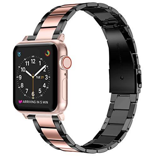 Wealizer - Correa de repuesto para Apple Watch, 42 mm, 44 mm, acero inoxidable, metal fino, ligero, para iWatch/Apple Watch Series 5 Serie 4 Serie 3 Serie 2 Serie 1 (38 mm 40 mm, oro + negro)