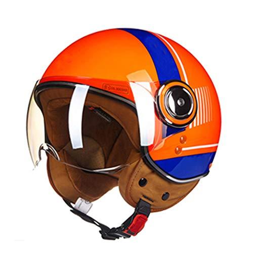 DJcala Motorhelm, Vintage, ECE Standard, elektrische fietshelm, retrohelm met bril, voor dames en heren, cruiser chopper scooter (54-60 cm)