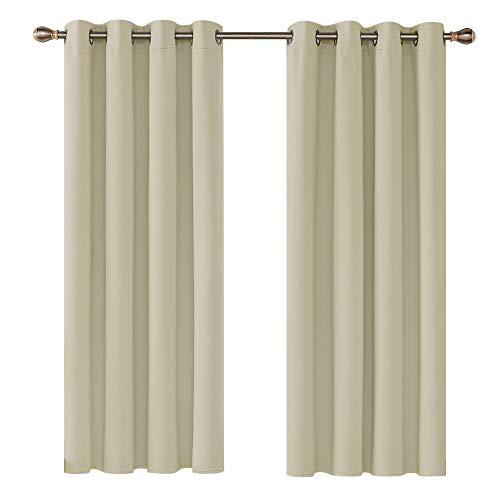 Deconovo Vorhang Blickdicht mit Ösen Gardinen Kinderzimmer Verdunkelungsvorhang ösen 138x117 cm Beige 2er Set